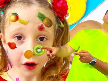 Nastya and Dad in the yummy Fruits and Vegetables dance challenge. Video for kids