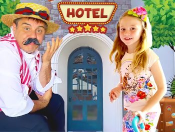 Nastya and Funny hotel toy story with Daddy. Video for kids