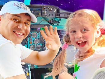Nastya and Dad pretend to play and learn at the Puerto Rico Children's Science Museum.