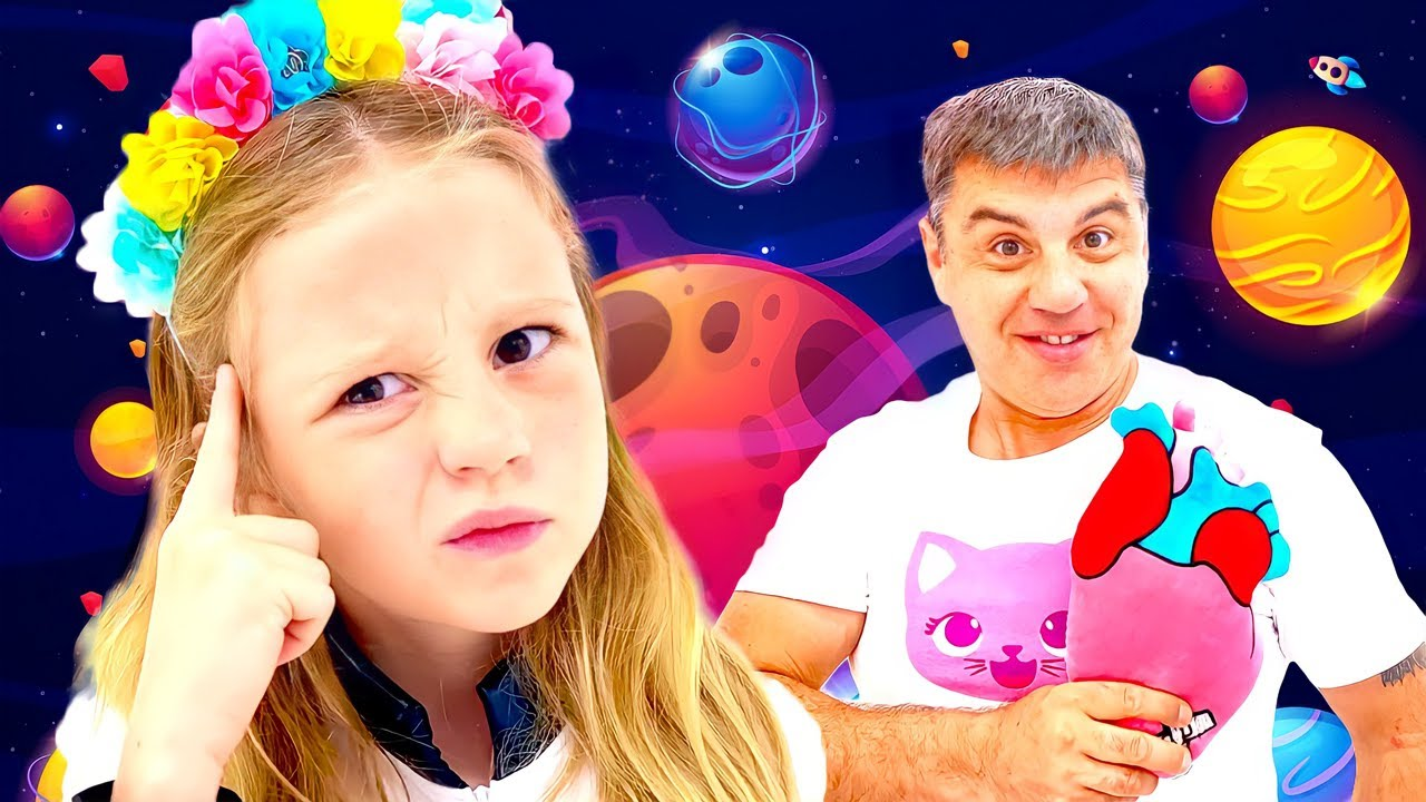 Nastya flies to aliens to know about space. Stories for kids